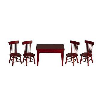 Puppen Haus Mahagoni Tisch & 4 Stühle Miniatur Küche Esszimmer Möbel