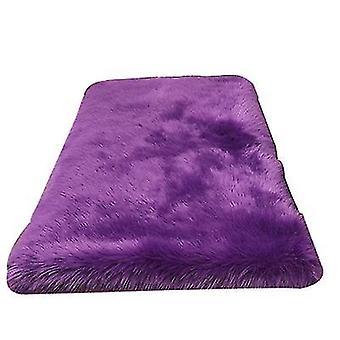 2Pcs 30cm purple plush round bedroom carpet round cushion az17572