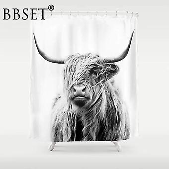 Korkealaatuinen pestävä suihkuverho Highland Cow Tulosta Vedenpitävä Kangas Kylpyhuone Sisustus (90 * 180CM ) WS21207