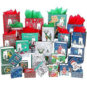 28st julklappspåsar behandla påsar presentinslagningspåsar Godisfest Favor Goody Bags julfest med 28st presentetiketter och 28 ark Tissu