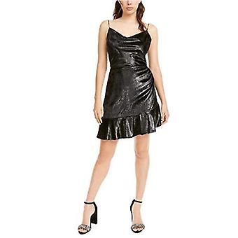 LEYDEN Womens Shimmery Ruffle-Hem Dress