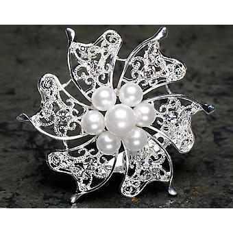 Broche de plata con perlas y diamanté para artesanía