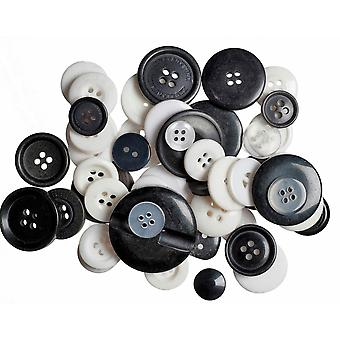 LAST FEW - 60g Assorted Monochrome Buttons for Crafts | Sewing Scrapbooking Card Making