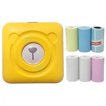 Mini portable termisk etiket peripage printer rejse trådløse printere (gul)