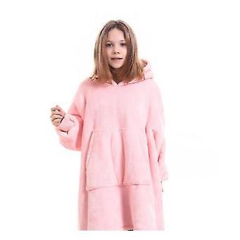 Hooded Blanket Pullover For Children(Pink)