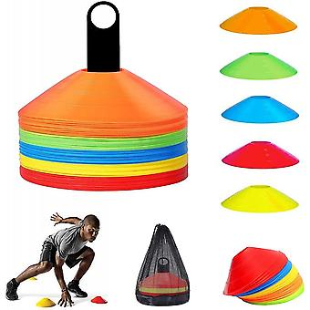 50 Football Marking Pads, Disk-shaped Cones For Football Workout, Training Help For Coordination Delivered With Support, Pocket Net, 5 Colors