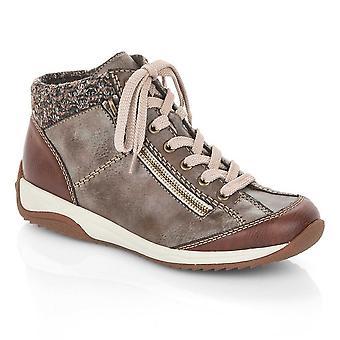 Rieker Brown Lace-up Træner Boot med Side Zip