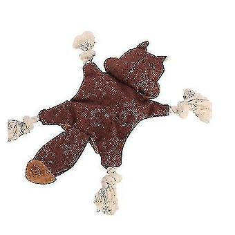 Dog Plush Toy Squirrel Fox Shape With Ringing Paper Pet Supplies(BROWN)
