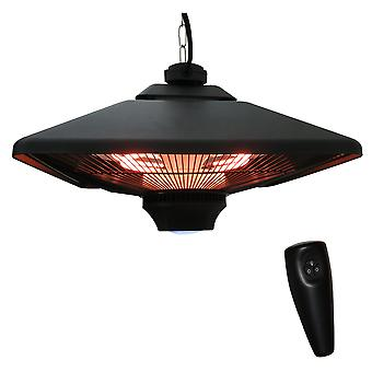 Outsunny 2kw Outdoor Hanging Ceiling Mounted Aluminium Halogen Electric Heater LED Garden Patio Warmer w/Remote Control