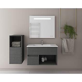 Set Mobili Sorrento , Colore Grigio, Bianco in MDF, Ceramica, Vetro, Unita' Base con Lavabo: L85xP43,5xA50 cm