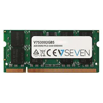 V7 V753002GBS, 2 GB, 1 x 2 GB, DDR2, 667 MHz, 200-pin SO-DIMM, Grön