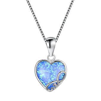 (E02-35-6)  14K Women Girl Heart Pendant Opal Necklace