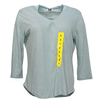 Orvis Women's Top Reg 3/4 Sleeve Linen Blue 1389464