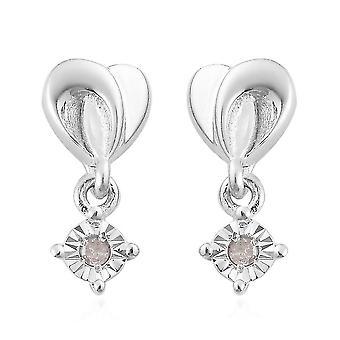 TJC fehér gyémánt csepp dangle fülbevaló platina bevonatú ezüst