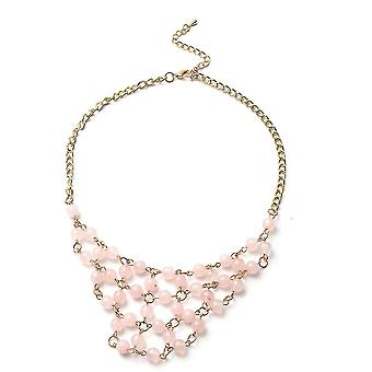 TJC Collar Necklace for Womens 21.5 '' Rose Quartz Gift for Wife/Mother 50ct