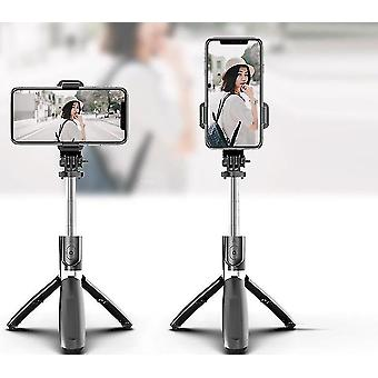 4 I 1 bluetooth trådlös selfie pinne och vikbart stativ (Svart)