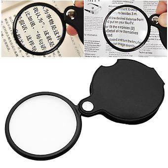 Mini prenosný 8x skladací kľúč ring magnifier s kľúčovou reťazou Denne lupa rúk Sklenený nástroj Lupa Darček