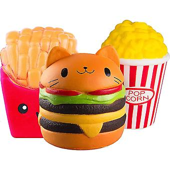 Cute Toys Children's Fried Sweet Simulation Slow Rising Toy Decorations To Relieve Stress And Anxiety Burger + Fries + Popcorn