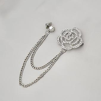 Fashion Set Diamond Hollow Rose Chain Brooch Badge Accessoires vestimentaires Cadeaux
