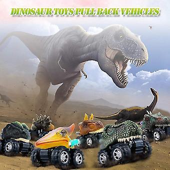 6pcs Dinosaur Toy Model Set Mini Dinosaur Pull Back Car Toy Car