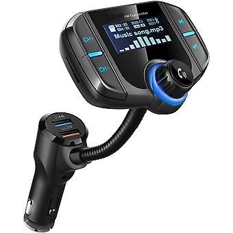 משדר Bluetooth Fm, מתאם רדיו אלחוטי ערכת רכב ללא שימוש בידיים עם צג בגודל 1.7 אינץ', Qc3.0 ויציאות USB כפולות חכמות 2.4a, קלט/פלט Aux, Tf Ca