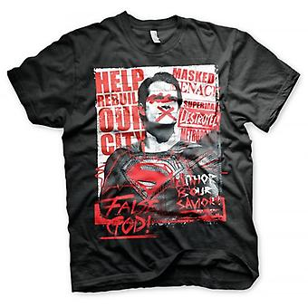 Batman Superman de Mens Batman V falso Deus t-shirt preto