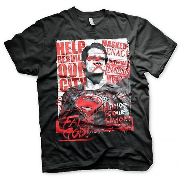 Batman, Superman Mens Batman V faux Dieu T-Shirt noir