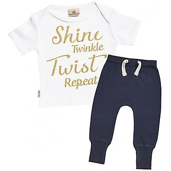 Spoilt Rotten Shine, Twinkle, Twist, Repeat Baby T-Shirt & Joggers Outfit Set