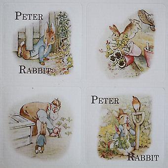 Planche d'autocollants sur le thème Peter Rabbit - 35 carrés autocollants - Beatrix Potter