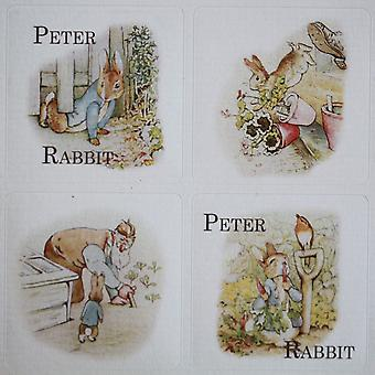 Peter Rabbit tema Sticker ark - 35 firkant klistermærker - Beatrix Potter