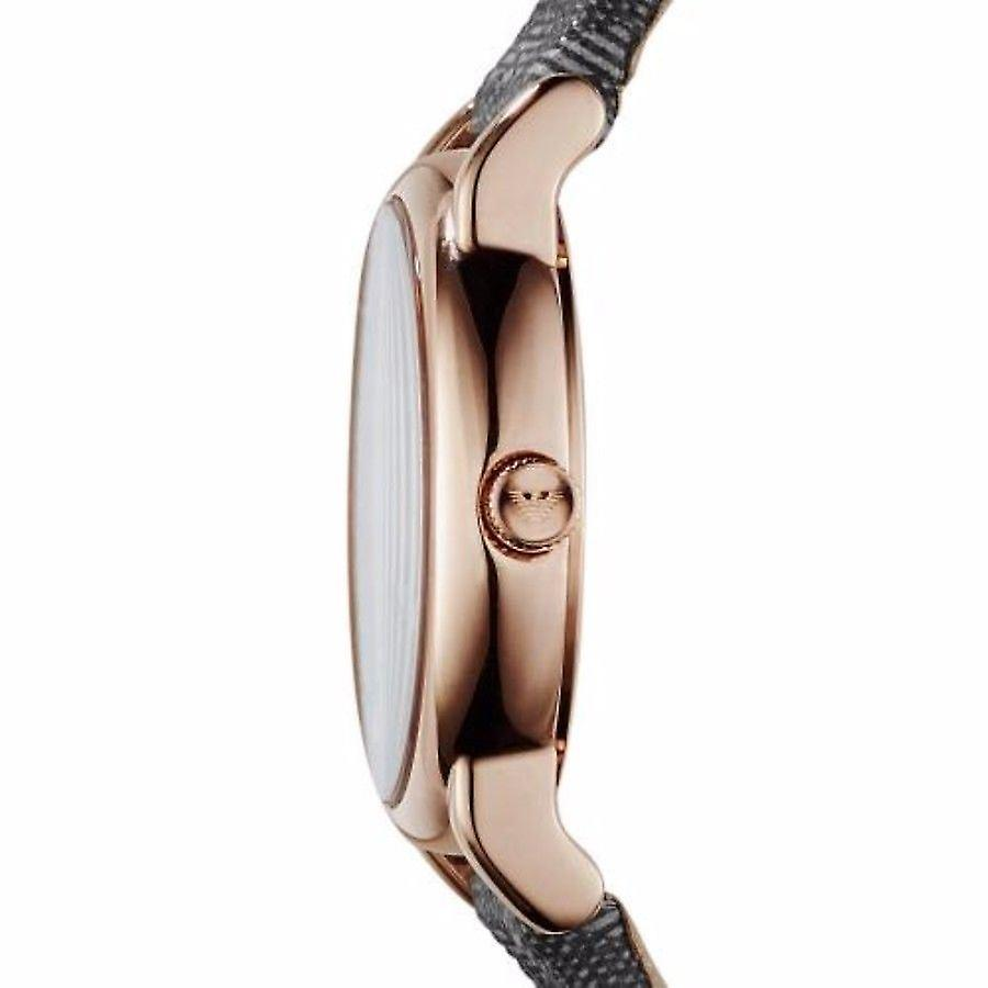 Emporio Armani Womens Black Watch tissu gris bracelet cadran gris AR1837