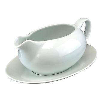 Saucer & Gravy Boat Styled Jug Ceramic White 550ml Ideal for Serving Gravy Sauces