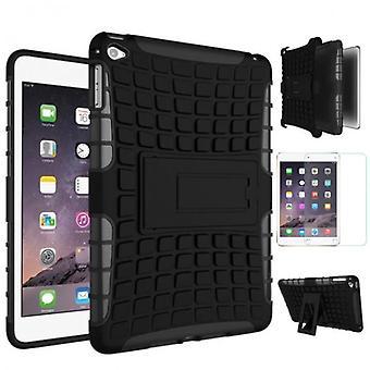 Hybridi ulkouima suojakotelo musta iPad Mini 4 taskussa + 0,3 H9 karkaistu lasi