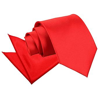 Red Plain Satin Tie & Pocket Square Set