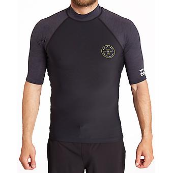 Billabong Contrast Short Sleeve Rash Vest in Black Heather