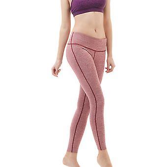 TSLA Tesla FYP41 Women's Mid-Waist Ultra-Stretch Yoga Pants - Space Dye Red