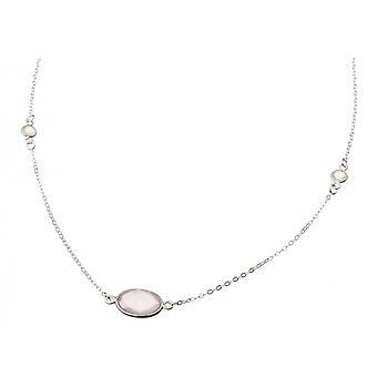 Gemshine Women's Necklace 925 Silver Rose Quartz Moonstone Pink White 45 cm