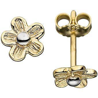 Flower Earrings gold earrings women's 333 yellow gold matte finish bicolor
