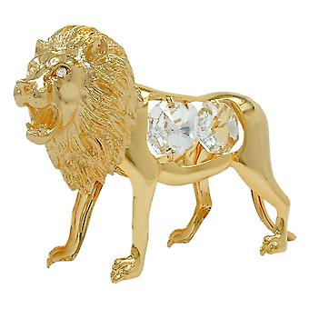 Decorative gold-plated sculpture Florencia Crystal Lion, with glass stones