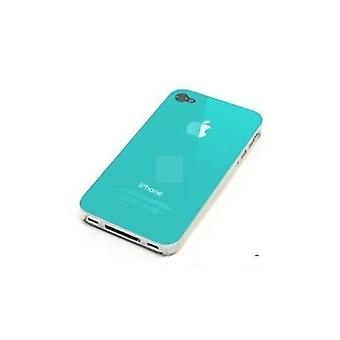 IPhone 4 & 4S Hard Plastic Cover Back Case with Apple Logo - Turquoise