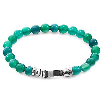 Anchor & Crew Green Agate Outrigger Silver And Stone Bracelet