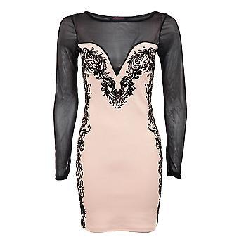 Efeito de senhoras longo Sleve malha Slimming Black Brocade Design Bodycon mulheres vestido