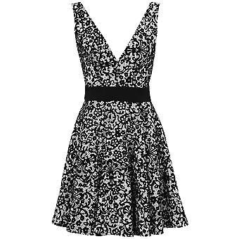 Bloemmotief voor dames koppel lage rug V hals Flare Glitter Women's Party Skater jurk