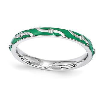 2,5 mm 925 Sterling Silber poliert gemustert Rhodium vergoldet stapelbare Ausdrücke grün Emaille Ring Schmuck Geschenke für Wo