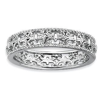 925 sterling silver mönstrad öppen rygg rodium-pläterade stapelbara uttryck polerad Fleur de Lis Ring-Ring storlek: 5 t