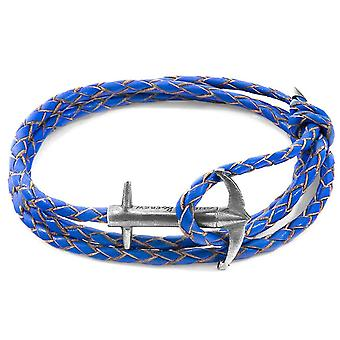 Anchor and Crew Admiral Silver and Braided Leather Bracelet - Royal Blue