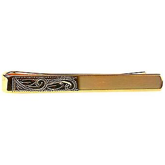 David Van Hagen Half Engraved Tie Slide - Gold
