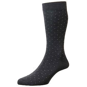 Pantherella Gadsbury Motif Pin Dot Cotton Lisle Socks - Dark Grey Mix