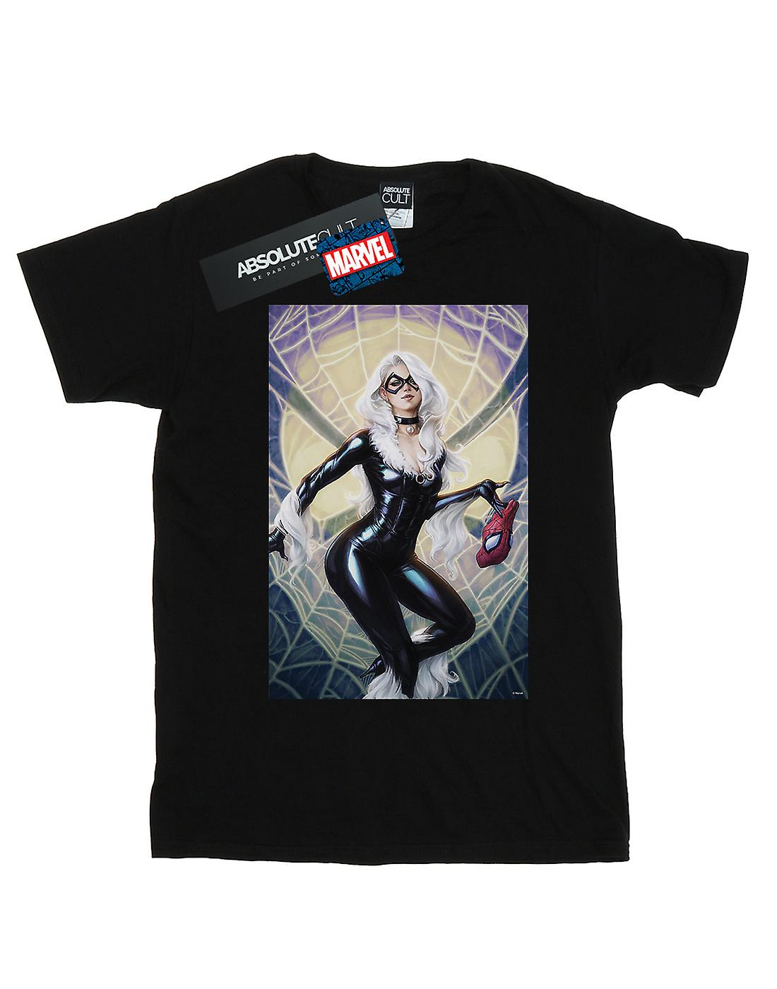 Marvel Women's Black Cat Artwork Boyfriend Fit T-Shirt