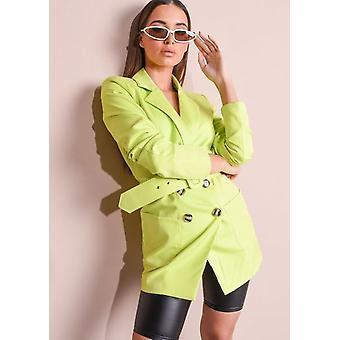 Neon Belted Double Breasted Blazer Mini jurk groen